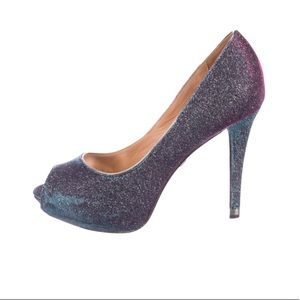 Badgley Mischka glitter pumps